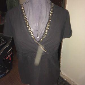 Lane Bryant metal studded neckline v-neck knit top